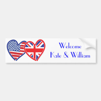 Welcome Kate & William/ Royal Wedding Bumper Sticker