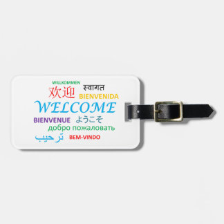 WELCOME LANGUAGES COLOURFUL GREETINGS LUGGAGE TAG