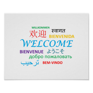 WELCOME LANGUAGES COLOURFUL GREETINGS POSTER