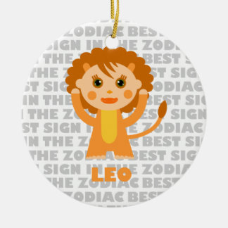 Welcome Leo Zodiac Baby! Double-Sided Ceramic Round Christmas Ornament