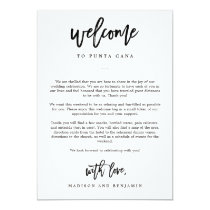Welcome Letter and Itinerary Wedding Welcome Bag Card
