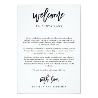 Wedding itinerary invitations announcements zazzle welcome letter and itinerary wedding welcome bag card junglespirit Images