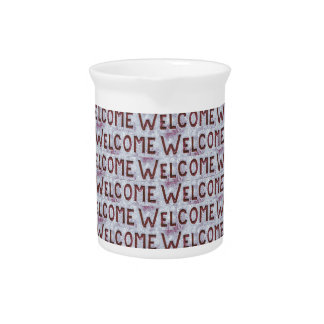 Welcome Letters Pattern Drink Pitcher