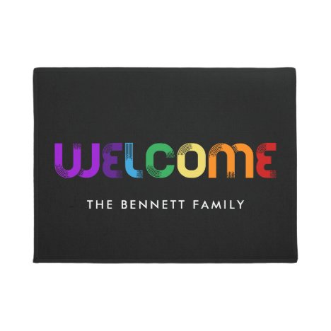 Welcome LGBT rainbow flag Doormat