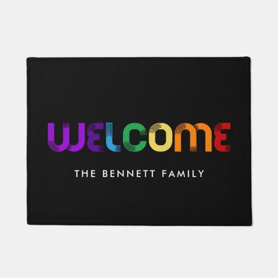 Welcome LGBT rainbow flag Doormatcom