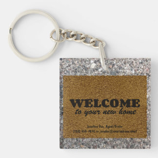 Welcome  Mat Single-Sided Square Acrylic Keychain
