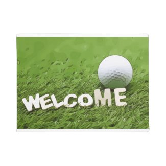 Welcome message with golf ball doormat