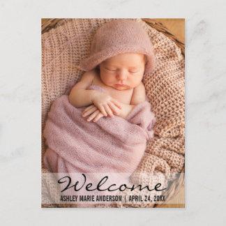 Welcome Modern Baby Birth Announcement Postcard