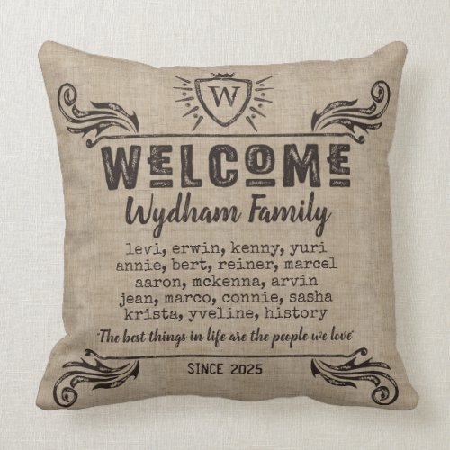 Welcome Monogram Rustic Logo Typography Burlap Throw Pillow