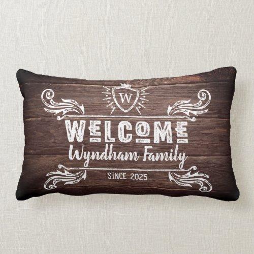 Welcome Monogram Rustic Logo Typography Wood Lumbar Pillow