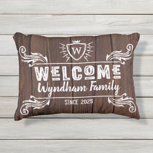 Welcome Monogram Rustic Logo Typography Wood Outdoor Pillow