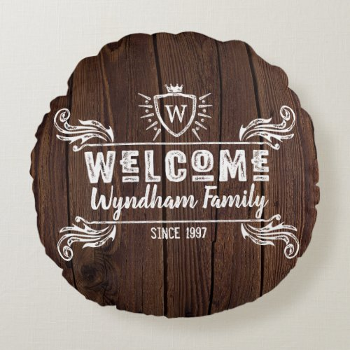 Welcome Monogram Rustic Logo Typography Wood Round Pillow