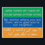 """Welcome Neighbors Sign - Hebrew, English, Arabic<br><div class=""""desc"""">Interested in the &quot;Welcome Your Neighbors&quot; signs that have been popping up in your community? You&#39;ve come to the right place! We encourage you to join us in welcoming the stranger, getting to know your neighbors, hosting and being hosted, reaching out across divides, providing shelter, seeking justice, and sharing love...</div>"""