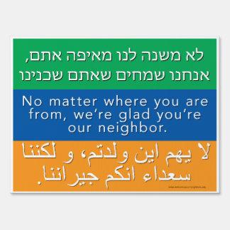 Welcome Neighbors Sign - Hebrew, English, Arabic