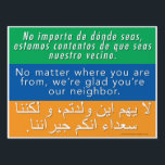 "Welcome Neighbors Sign - Spanish, English, Arabic<br><div class=""desc"">Interested in the &quot;Welcome Your Neighbors&quot; signs that have been popping up in your community? You&#39;ve come to the right place! We encourage you to join us in welcoming the stranger, getting to know your neighbors, hosting and being hosted, reaching out across divides, providing shelter, seeking justice, and sharing love...</div>"