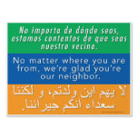 Welcome Neighbors Sign - Spanish, English, Arabic<br><div class='desc'>Interested in the &quot;Welcome Your Neighbors&quot; signs that have been popping up in your community? You&#39;ve come to the right place! We encourage you to join us in welcoming the stranger, getting to know your neighbors, hosting and being hosted, reaching out across divides, providing shelter, seeking justice, and sharing love...</div>