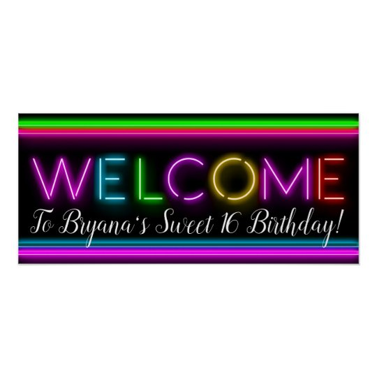 welcome neon glow glowing birthday party banner poster