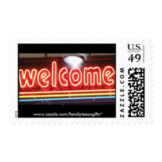 Welcome Neon Sign Postage Stamp