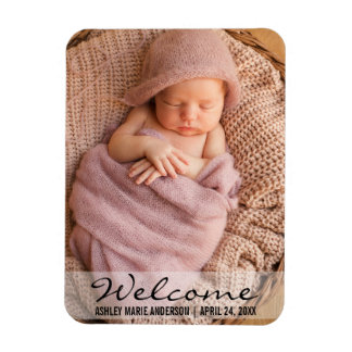 Welcome New Baby Announcement Photo Magnet