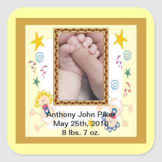 Welcome New Baby Boy or Girl Square Stickers