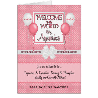 Welcome New Baby Girl Aquarius Congratulations Card