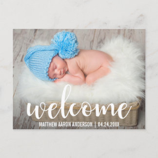 Welcome New Baby Modern White Script Announcement Postcard