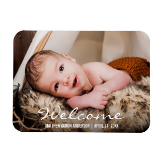 Welcome New Baby Photo Announcement Magnet BW
