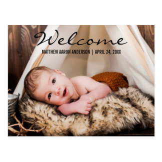 Welcome New Baby Photo Announcement Postcard BT