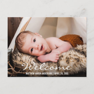 Welcome New Baby Photo Announcement Postcard BW