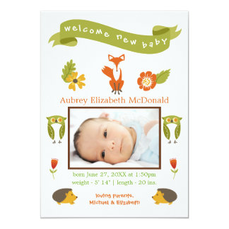 Welcome New Baby Woodland - Birth Announcement
