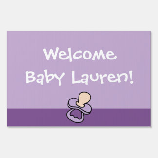 Welcome New Baby Yard Sign (Blue Scallop Edge)