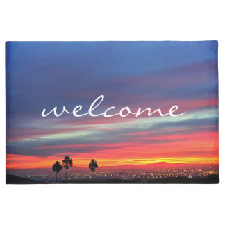 """Welcome"" orange blue & red sunrise photo doormat"