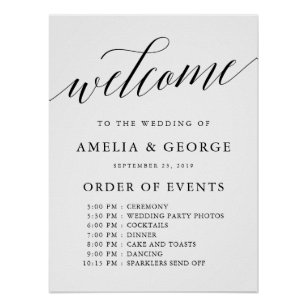 Order Of Events Wedding Posters | Zazzle