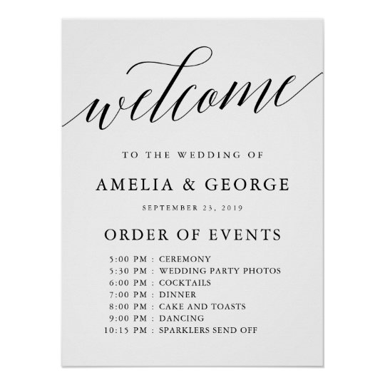 Welcome Order Of Events Wedding Sign