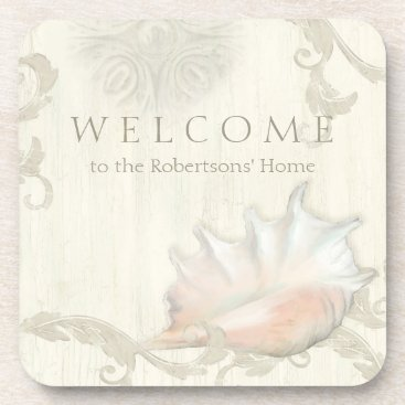 Beach Themed Welcome Personalized Beach Cottage Seashell Home Drink Coaster