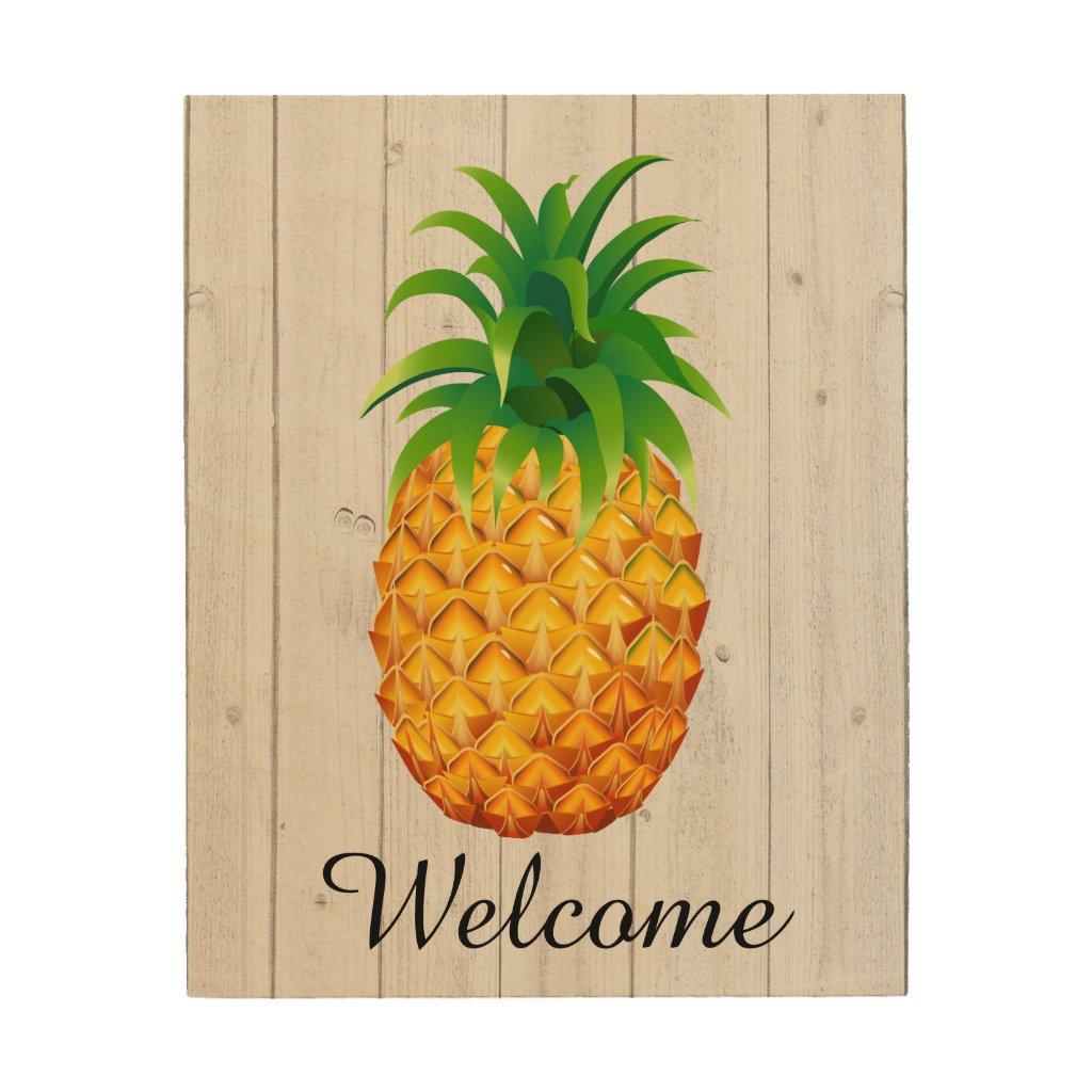 Welcome Pineapple on Wood - SRF Wood Print