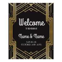 Welcome Poster Gatsby Art Deco Gold Wedding Poster