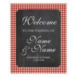 Welcome Poster Red Check Sign Wedding Poster
