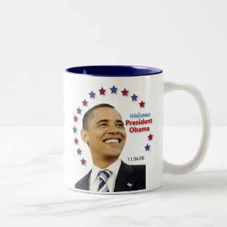 Welcome, President Obama! Two-Tone Coffee Mug