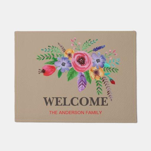 Welcome Pretty Watercolor Flower Bouquet Doormat Zazzle