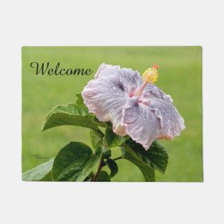Welcome Purple Hibiscus Flower Doormat