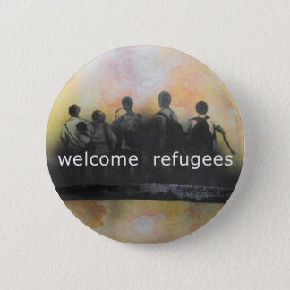 Welcome refugees badge pinback button