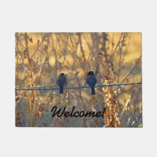 Welcome! Romantic sparrow bird couple, Photo Doormat