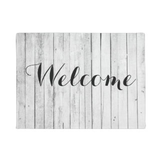 Welcome Rustic Black and White Wood Panel Farm Doormat