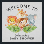 "Welcome Safari Jungle Baby Shower Sign<br><div class=""desc"">Cute Welcome to the Baby Shower Poster featuring the most adorable jungle animals,  elephant,  lion,  giraffe &amp; monkey.   Matching items available in our shop.</div>"