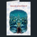 """welcome Santa Claus Christmas card Netherlands<br><div class=""""desc"""">romantic Christmas card with a painted illustration of the Santa Claus which at an old European city Christmas arrive. entirely to adapt with Dutch text and exclusive design by frank glerum art.</div>"""