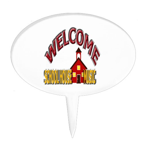 welcome school house music cake toppers