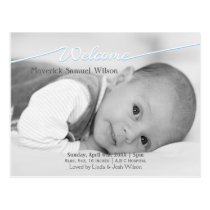 Welcome Script Mod Baby Boy Arrival Announcement Postcard