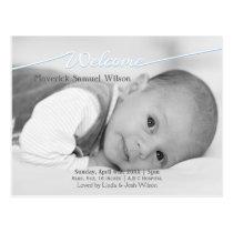 Welcome Script Mod Baby Boy Arrival Announcement Postcard