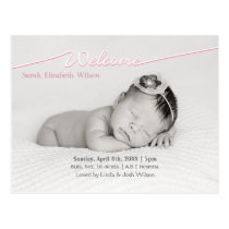 Welcome Script Mod Baby Girl Arrival Announcement Postcard
